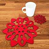 Super Cool Creations Snowflake Placemat and Coaster Set, Red Mirror - 4 Placemats and 4 Coaster - Standard