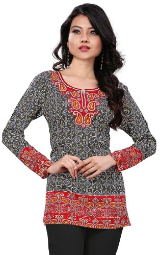Long India Tunic Top Womens Kurti Printed Blouse Indian Clothing – M…Bust 36 inches, Black