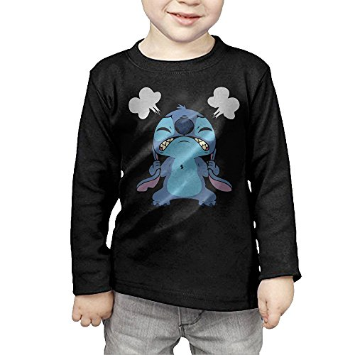 Toddlers Angry Stitch Fictional Character Lilo Long Sleeve T Shirts 3 Toddler Black