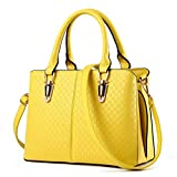 Women Handbag,Women Bag, Shoulder Bag KINGH Zip Closure Tote Vintage Bag PU Leather 119 Yellow
