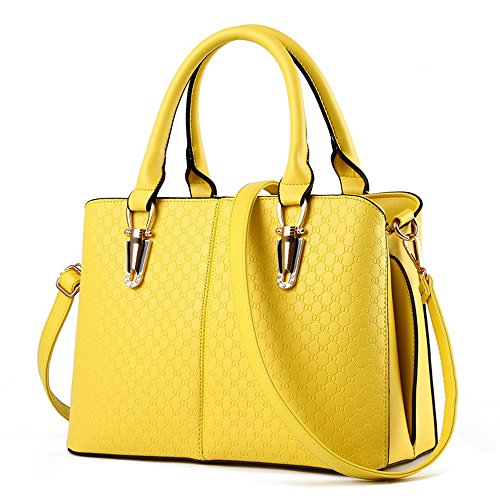 [Women Handbag,Women Bag, Shoulder Bag KINGH Zip Closure Tote Vintage Bag PU Leather 119 Yellow] (Yellow Purses)