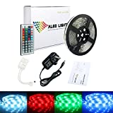 ALED LIGHT 5050 LED Strip Set 16.4 ft 5M 150 SMD RGB Waterproof Colour Changing LED Rope Light with 2A Power Supply+IR Receiver 44 Key Remote Controller Suitable for Home and Outdoor Light Decora