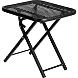 Garden Oasis Folding Patio Table Black Powder Coated Steel 18'' Outdoor Square Foldable Table
