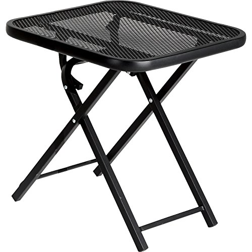Garden Oasis Folding Patio Table Black Powder Coated Steel 18'' Outdoor Square Foldable Table by Garden Oasis