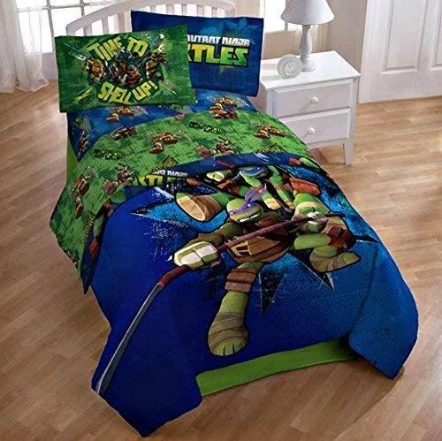 Nickelodeon Teenage Mutant Ninja Turtles Full Reversible Comforter and Sheet Set 5 piece 100% Polyester ()