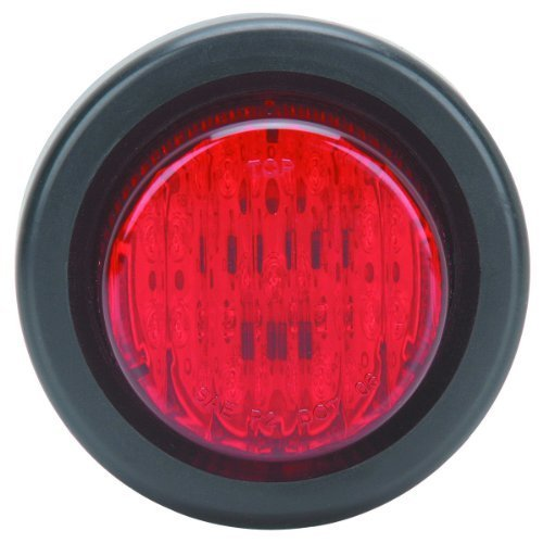 Rubber Grommet Mount - 2 Inch Submersible Round Marker Light Kit - RED; Includes Flush Mount Rubber Grommet, 9 Leds and 6