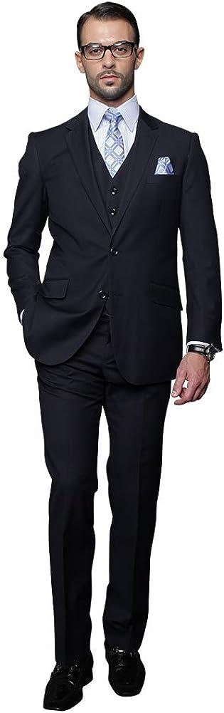 Pleated Pants 3 Piece Statement Mens Suit with Regular Fit Vest