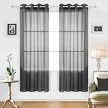 Deconovo Fashionable Grommet Curtains Soft Sheer Panels Voile Curtains  Delicate Sheer Curtains For Windows 52W X