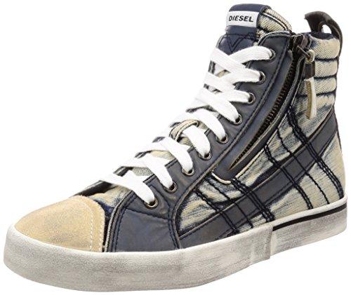 - Diesel Men's D-Velows LACE Vintage-Sneaker mid, Midnight Navy, 9.5 M US