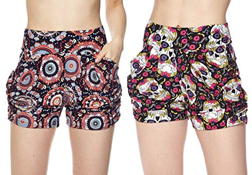 Women's 2 Pack Premium Ultra Soft Harem Shorts in Fun Trendy Patterns (Pink Skulls & Colorful Circles, S/M (2-8)) -