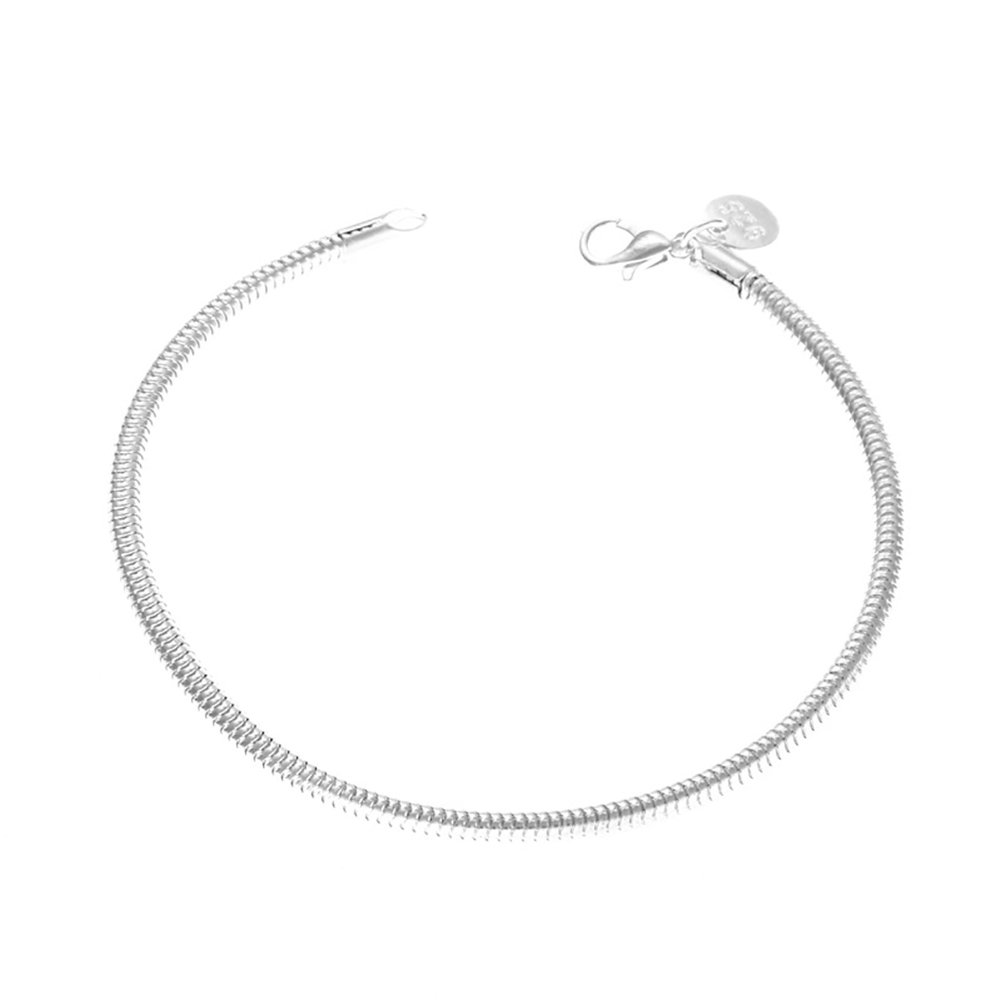 Powerfulline Exquisite Concise Silver Plated Thick Unisex Bracelet Decor Couple Wrist Chain Charm Gift Sale
