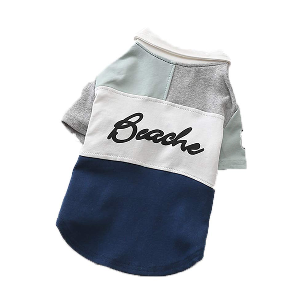 bluee XL bluee XL Dog Clothes pet Costume Spring Handsome Polo Shirt Walking Fashion Dog Two feet Clothes