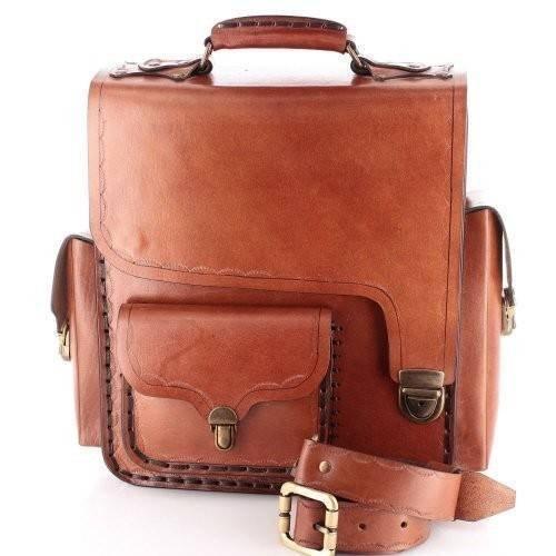13'' Handmade Leather Briefcase Messenger Satchel Handbag Vertical Large Brown by EleganceAccessories