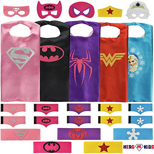 [Girls Superhero Costume Set: (5 Masks, Belts, Capes, and 5 sets of Bracelets)] (Made Up Superhero Costumes Ideas)