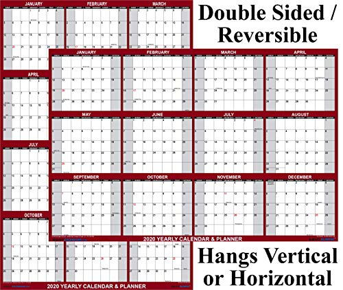 24x36 SwiftGlimpse 2020 Wall Calendar Erasable Large Wet & Dry Erase Laminated 12 Month Annual Yearly Planner, Reversible - Maroon
