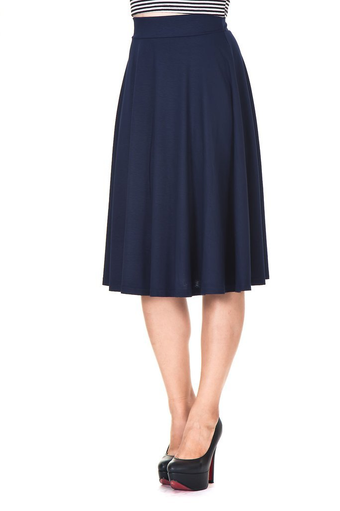 Dani's Choice Beautiful Flowing A-Line Flared Swing Midi Skirt (XL, Navy)