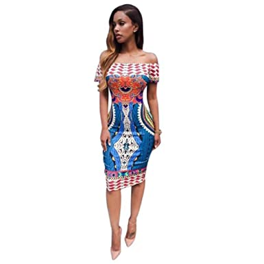 bcb4208a649 Bluester Women Traditional African Print Dashiki Bodycon Sexy Short Sleeve  Dress  Amazon.co.uk  Clothing