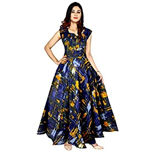 Mudrika Women's Rayon Digital Printed Flare Long Gown Dress (Multicolour, Free Size)