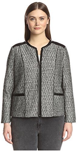 NYDJ Plus Women's Metallic Leather Tweed Jacket, Black, 16W