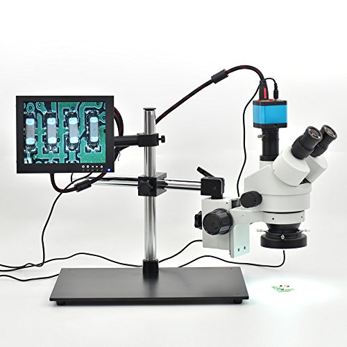 HAYEAR 7X-45X Trinocular Microscope Inspection Zoom Stereo HD 14MP HDMI USB Calibrate Camera+ Big Stereo Stand+144 LED Ring Light+8 inch HD HDMI LCD Monitor