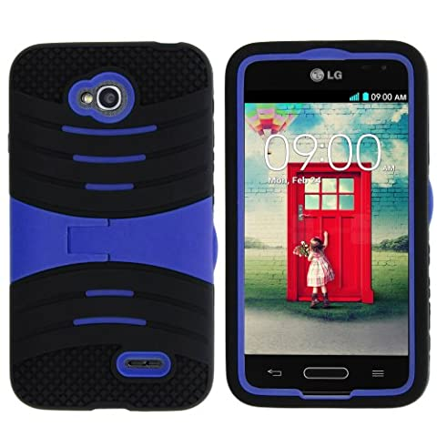 MINITURTLE, Premium Durable Rugged Shell Hybrid Protective Phone Case Cover with Built in Kickstand and Clear Screen Protector Film for Prepaid Android Smartphone LG Optimus L70 MS323 /MetroPCS (Black / (Cover De Lg 70)