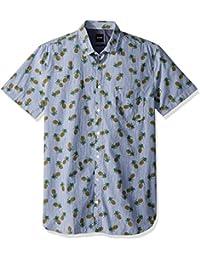 Boss Orange Men's Short Sleeve Stripe Shirt With Pineapple Design