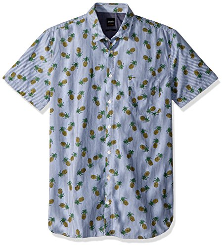 Boss Orange Men's Short Sleeve Stripe Shirt With Pineapple Design, Blue, Large by Hugo Boss