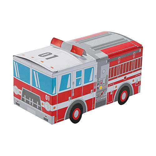 Fun Express - Firetruck Shaped Treat Box for Birthday - Party Supplies - Containers & Boxes - Paper Boxes - Birthday - 12 Pieces