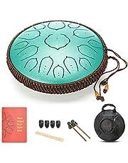 Amkoskr 14 Inches 35 cm Staal Tong Drum D Sleutel 15 Nota's Percussie Instrument Hand Pan Drum met Drum Mallets/Draagtas (Groen)