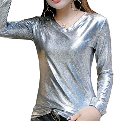 Haoohu Women's Fashion Glitter Long Sleeve V-Neck T-Shirt Tank Top for Casual Club Party Dance (Silver L) (V-neck Top Sleeve Long Tank)
