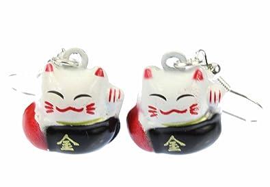 Katze Winkekatze Charm Glückskatze Winkekatze Miniblings Maneki-neko schwarz