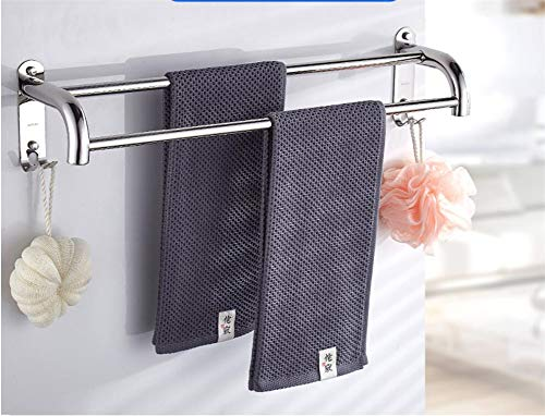 Drill Free Double Towel bar Towel Bars,Stainless Steel 304 Anti-Corrosion Rust Towel Rack,for Bathroom Kitchen-B 50cm(20inch)