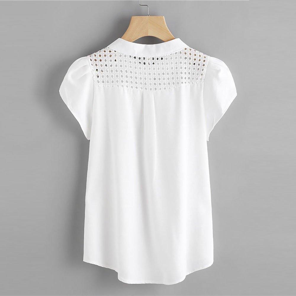 OverDose Damen Damenhemd Chiffonbluse Kurzarm Rei/ßverschluss Vorne Oansatz Aush/öhlen Schmetterlingsh/ülse L/ässig B/üro Formelle D/ünne Tops T-Shirt
