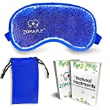 Cold Eye Mask - Cooling Gel Compress Pack for Puffy Eyes, Migraine, Headache Relief, Pink Eye, Dark Circles, Dry Eye, Sinus & Allergy - Perfect Hot Cold Beads Face Ice Mask - Adjustable & Reusable