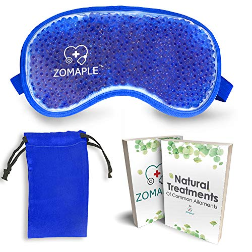 Cold Eye Mask Cooling Gel Compress Pack for Puffy Eyes, Migraine, Headache Relief, Pink Eye, Dark Circles, Dry Eye, Sinus & Allergy - Perfect Hot Cold Beads Face Ice Mask -