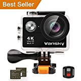 Action Camera 4K Waterproof WiFi - Vansky Ultra HD Sport Camera 2 Inch LCD Screen WiFi 12MP 170 Degree Wide Angle 2 Rechargeable 1050mAh Batteries Include 23 Accessories Kits
