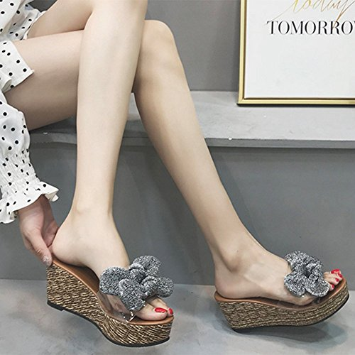 Sandals Women Summer High-Heeled Slope With Flip Flops With Bow-Knot Transparent Sequin Slippers,Gold,39 Silver
