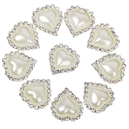 10pcs Heart White Faux Pearl Button Flatback Embellishment 20mm x 25mm