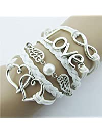 Susenstone® DIY Style Jewelry fashion Leather Cute Infinity Charm Bracelet Silver