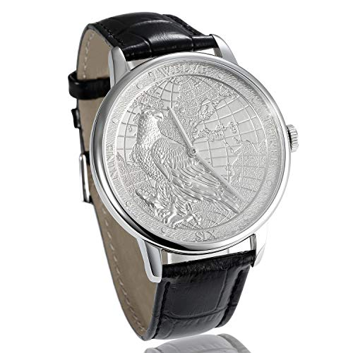 CHIYODA Men's Watch, Swiss Quartz Wrist Watch with Leather Strap,Platinum Plated with Carving Process of Map and Eagle Pattern