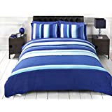 Signature Striped Adults Teenagers Quilt Duvet Cover and Pillowcase Bedding Bed Set, Blue, Single by Signature