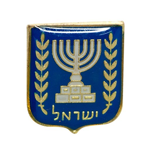 1550260faab39 Israel State Blazon enamel badge lapel PIN Israel Menorah olive branch  Judaica