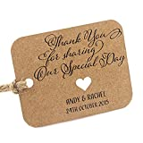 Summer-Ray 50pcs Personalized Mini Rounded Rectangle Brown Kraft Wedding Favor Gift Tags Thank You for Sharing Our Special Day