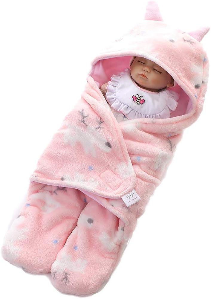 0-9 Meses Infantil Suave Vell/ón Reci/én Nacidos abrigado con Capucha y pies Envolver Manta Universal para Silla de Paseo Athyior Saco de Dormir Beb/és 2.5 TOG Invierno