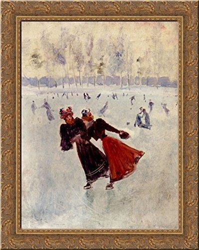 Women Skating 20x24 Gold Ornate Wood Framed Canvas Art by Beraud, Jean ()