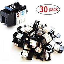 30-Pack Cat6 RJ45 Keystone Jack in Black for wall plate and patch panel by NetEx Quality
