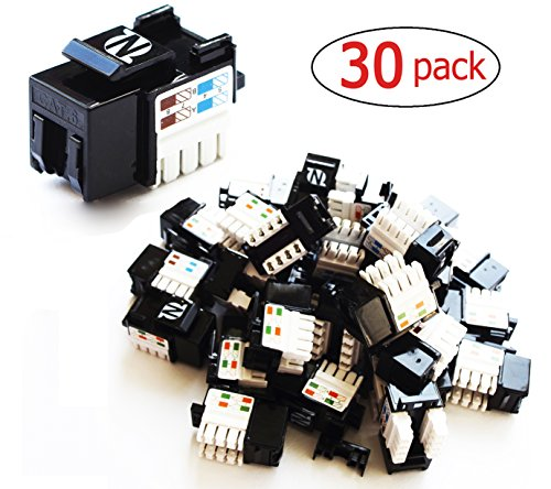30-Pack Cat6 RJ45 Keystone Jack in Black for wall plate and patch panel by NetEx (Idc Coupler)