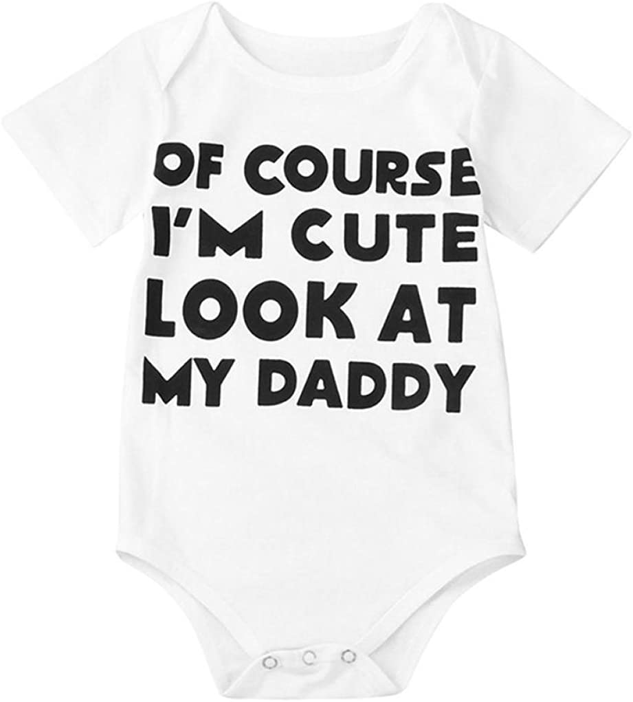 sunnymi for 0-18 Months Kids Fashion Cute Newborn Infant Toddler Baby Girls Boy Short Sleeve Letter Romper Jumpsuit Outfits Clothes