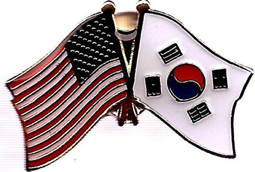 Korea Lapel Pin - Pack of 3 South Korea & US Crossed Double Flag Lapel Pins, South Korean & American Friendship Pin Badge