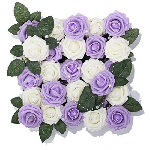 - Meiliy 60pcs Artificial Flowers Lilac + Ivory Roses Real Looking Foam Roses Bulk w/Stem for DIY Wedding Bouquets Corsages Centerpieces Arrangements Baby Shower Cake Flower Decorations